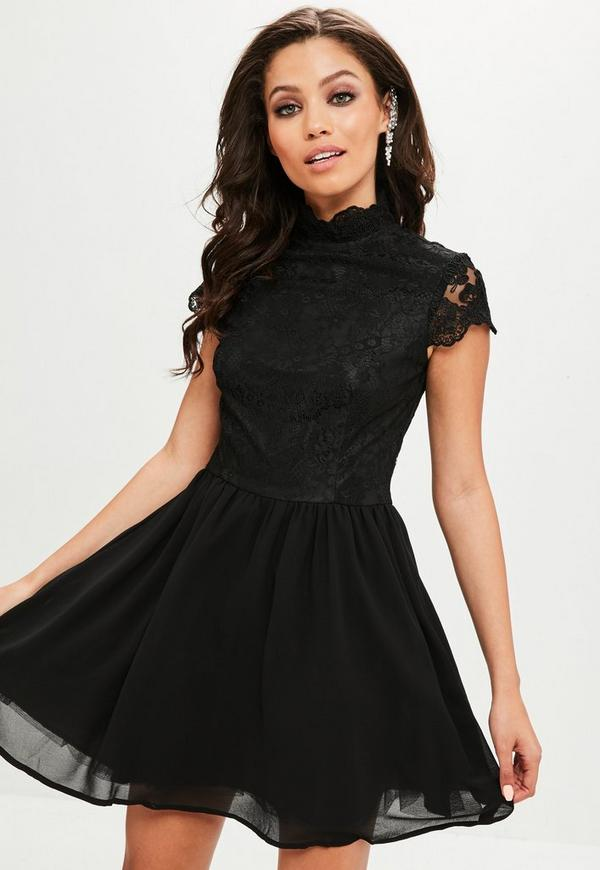 black high neck lace skater dress missguided