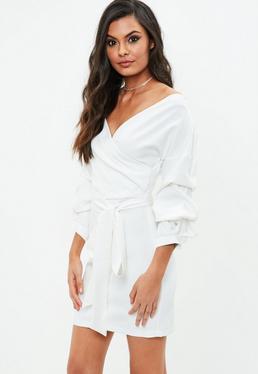 Biała sukienka bardot z wiązaniem