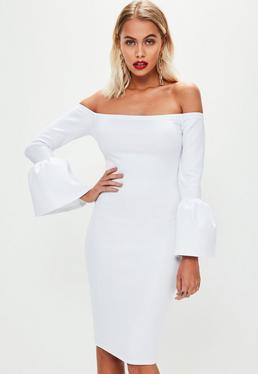 White Bardot Gathered Flared Sleeve Midi Dress