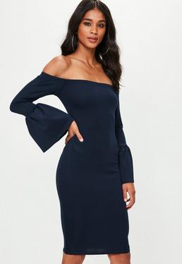 Navy Bardot Gathered Flared Sleeve Midi Dress