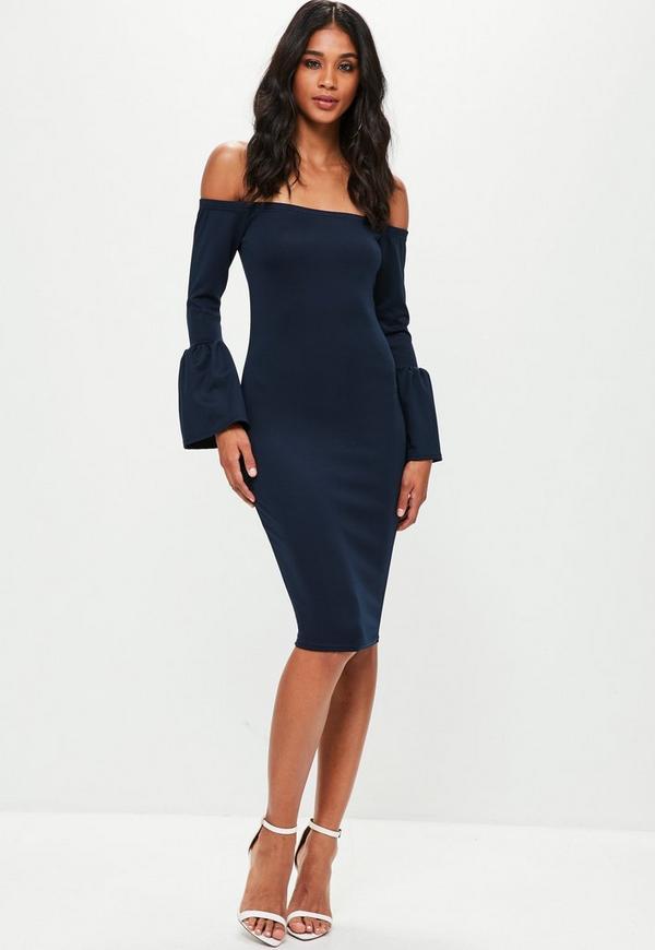 Navy Bardot Gathered Flared Sleeve Midi Dress Missguided