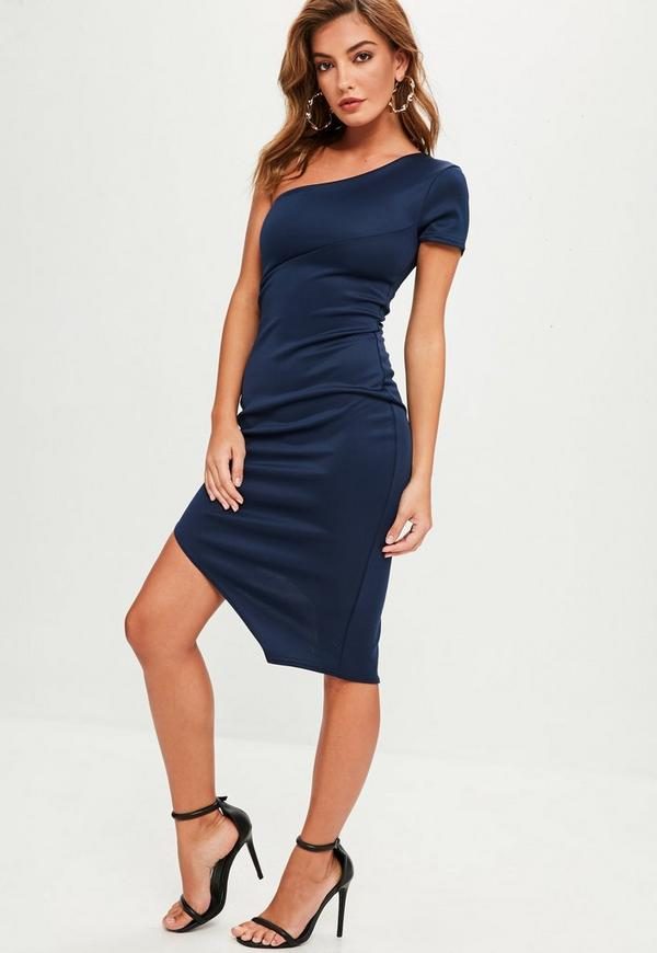 robe mi longue bleu marine asym trique missguided. Black Bedroom Furniture Sets. Home Design Ideas