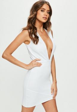 White Scuba Bodycon Dress