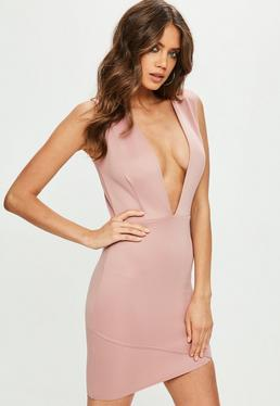 Pink Scuba Extreme Plunge Bodycon Dress