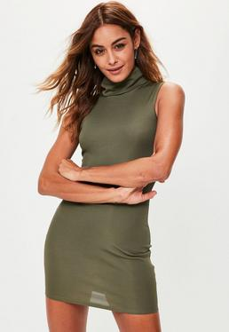 Khaki Ribbed High Neck Mini Dress