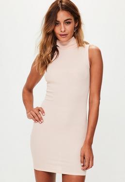 Pink Ribbed High Neck Mini Dress
