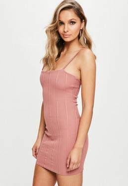 Pink Strappy Square Neck Bandage Bodycon Dress