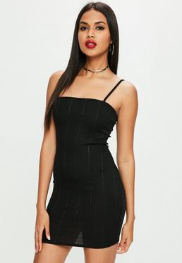 Black Strappy Square Neck Bandage Bodycon Dress