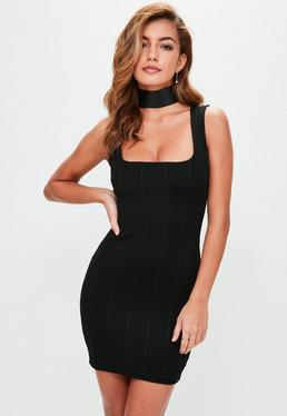 Black Square Neck Bandage Bodycon Dress