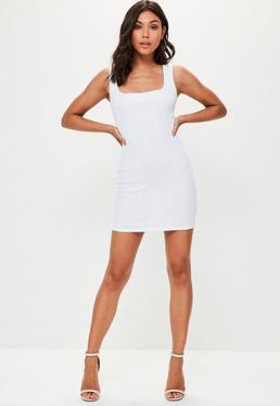 White Square Neck Panelled Hem Bandage Bodycon Dress