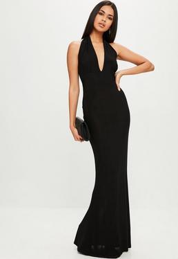 Black Plunge Slinky Backless Maxi Dress
