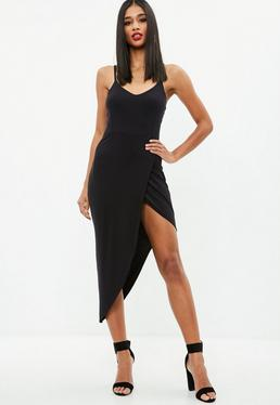 Black Jersey Plunge Asymmetric Hem Midi Dress