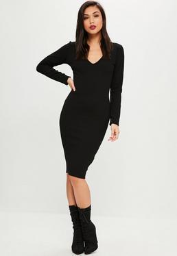 Vestido midi con manga larga en negro
