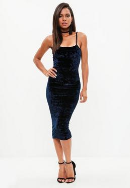 Navy Velvet Scoop Neck Strappy Midi Dress