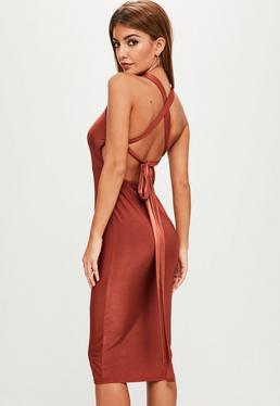 Red Square Neck Bodycon Dress