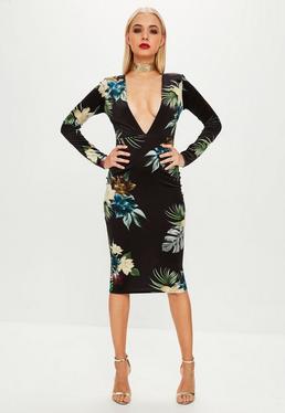 Black Printed Velvet Plunge Midi Dress