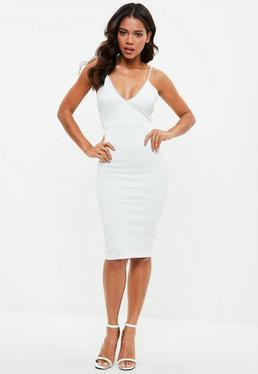 Biała sukienka midi na ramiączkach