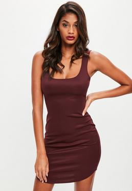 Burgundy Scuba Square Neck Bodycon Dress