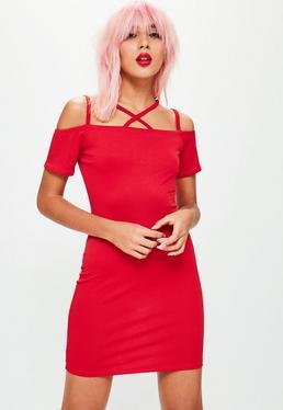 Red Cross Neck Bardot Mini Dress
