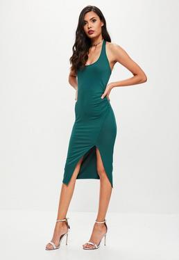 Zielona sukienka z dekoltem halter