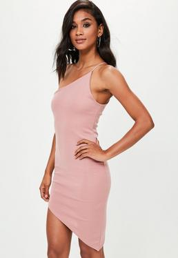 Pink Asymmetric One Shoulder Bodycon Dress