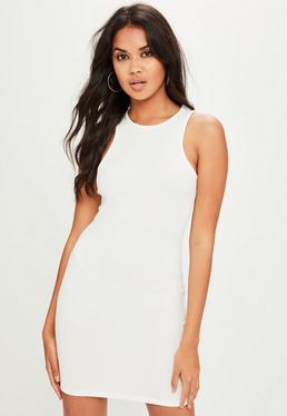 White Racer Neck Crepe Mini Dress