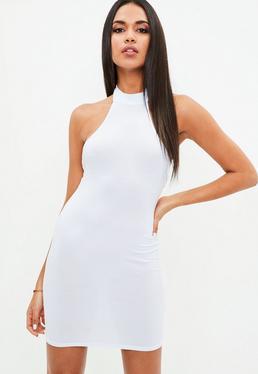 White High Neck Halter Dress