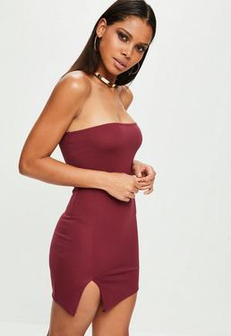 Burgundy Scuba Split Side Mini Dress