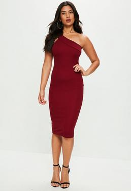Burgundy One Shoulder Midi Dress