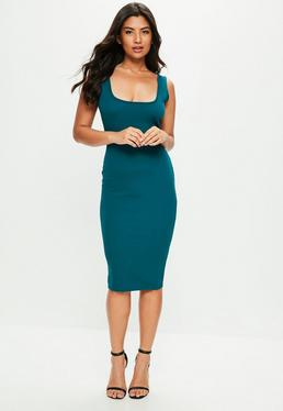 Blue Square Neck Open Back Midi Dress