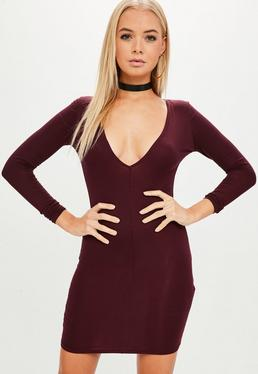 Burgundy Plunge Bodycon Dress