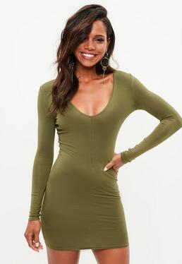 Khaki Plunge Long Sleeve Bodycon Dress