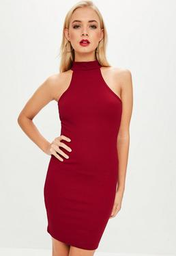 Burgundy High Neck Bodycon Dress