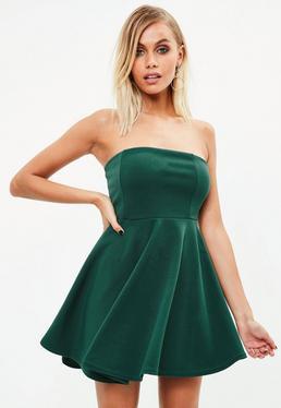 Green Scuba Skater Dress