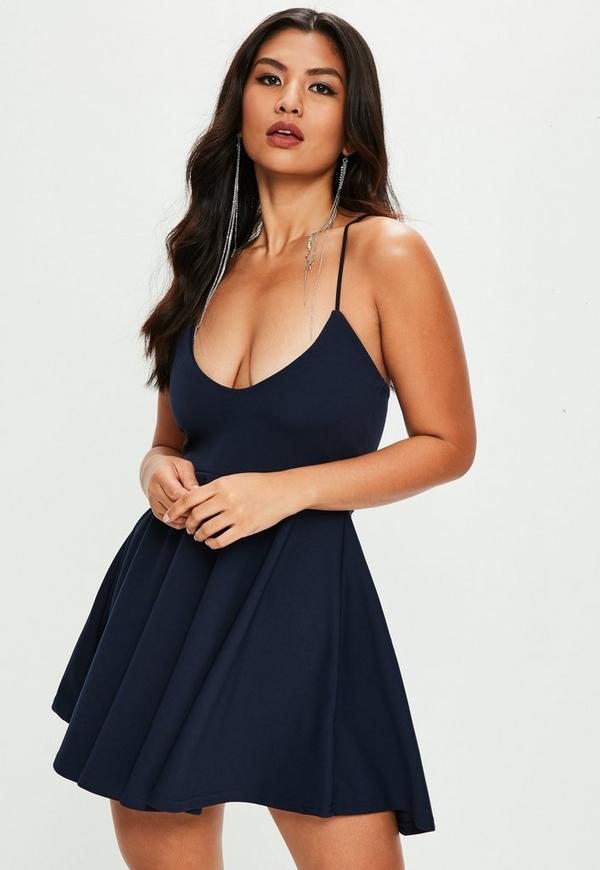 185b71ebf3 Navy Scuba Strappy Skater Mini Dress