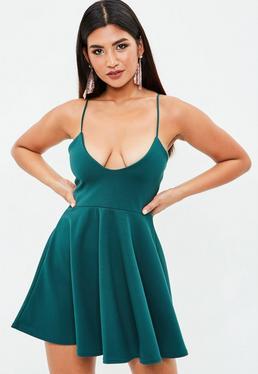 Green Strappy Skater Dress