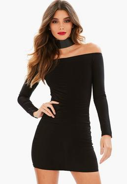 Black Slinky Bardot Mini Dress