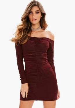 Burgundy Slinky Ruched Front Mini Dress