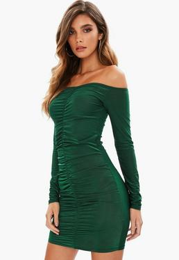 Green Slinky Bardot Mini Dress