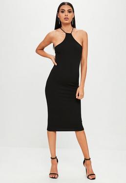 Black Racer Neck Midi Dress
