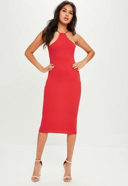 Red Racer Neck Midi Dress