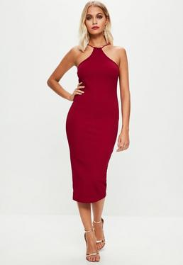 Burgundy Racer Neck Midi Dress
