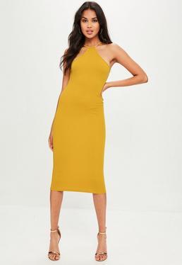 Yellow Racer Neck Midi Dress