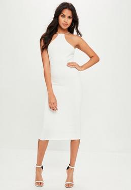 White Racer Neck Midi Dress