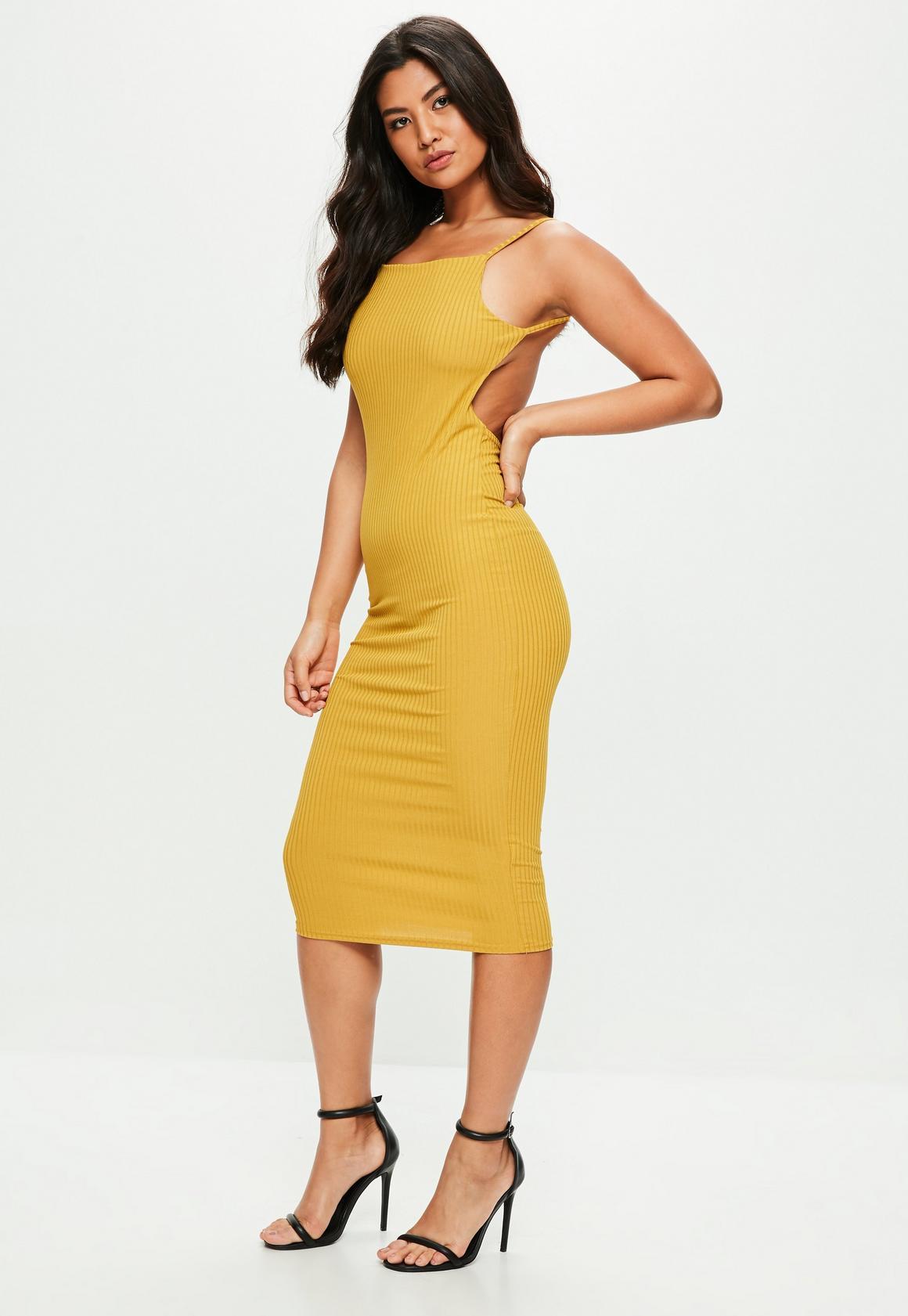 Mustard Yellow Square Neck Ribbed Midi Dress