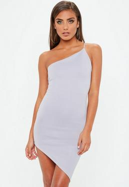 Gray One Shoulder Asymmetric Dress