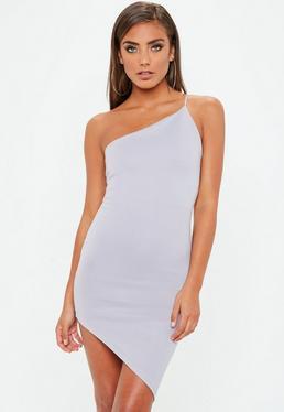Grey One Shoulder Asymmetric Dress