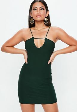 Green Strap Detail Bodycon Mini Dress