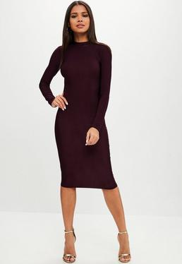 Fioletowa zabudowana sukienka midi