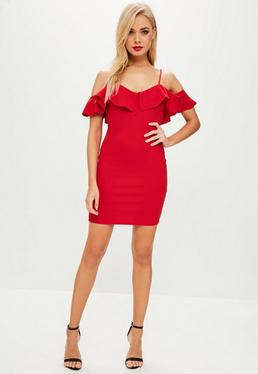 Red Crepe Frill Bodycon Dress